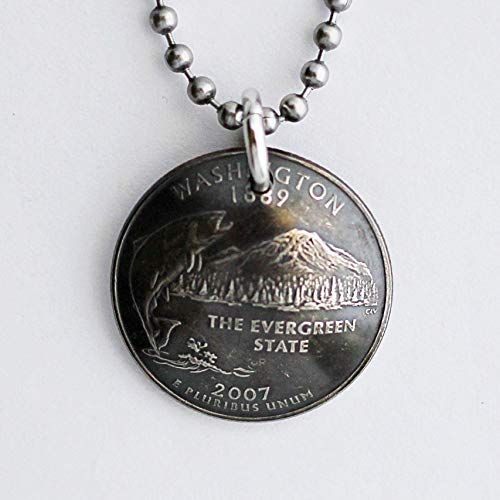 Washington State Quarter Domed Coin Necklace U.S. Commemorative Pendant 2007