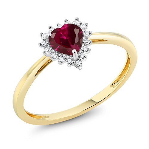 2 Tone Diamond Heart - Gem Stone King 10K 2-Tone Gold 0.60 Cttw 5mm Red Created Ruby and Diamond Heart Shape Ring (Size 7)