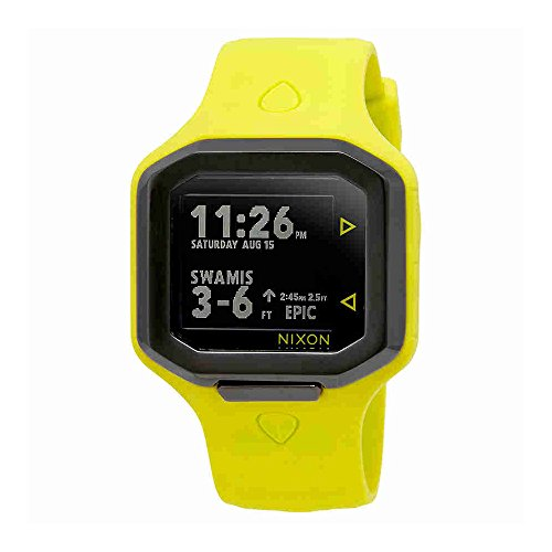 Nixon Ultratide Neon Yellow/Gunmetal Surfline Rating, Wave Heigh, Swell Height, Real Time Tide Digital Men's Watch A476-2111 by NIXON