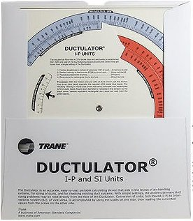 Trane TD1  Ductulator with Sleeve, Duct Sizing Calculator (Duct Air Rectangular)