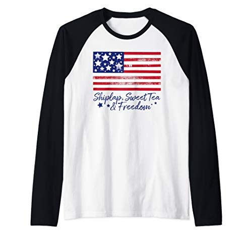 (Patriotic American Flag Southern Sayings Shiplap Sweet Tea   Raglan Baseball Tee)