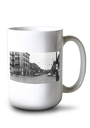 Lantern Press Lewiston, Idaho - City Street Scene, Lewis-Clark Hotel in Distance (15oz White Ceramic Mug)