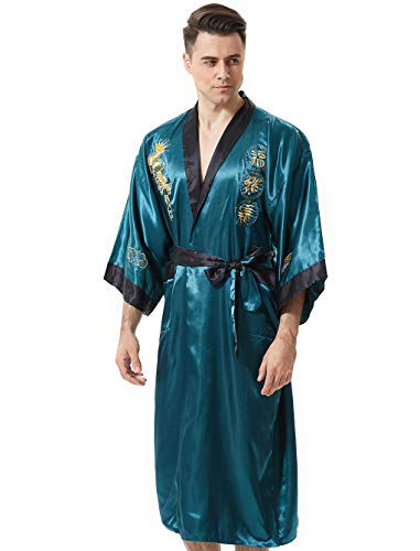 MORCOE Men's Chinese Dragon Embroidered Satin Kimono Yukata Long Robe Soft Loungewear Nightgown Pajamas with Pockets Gift (Style3 Green(Two-Side wear))