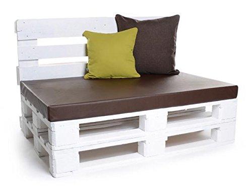 Palettenkissen, Gartenmöbel Auflagen, Sitzbankauflage, Matratzenauflagen auch m. Rückenlehne bzw. Dekokissen in Kunstleder braun, wasserabweisend und strapazierfähig