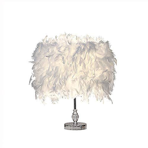 Feather Table Lamp Vintage Elegant Bedside Desk Crystal Light White Lampshade for Bedroom Foyer Living Reading Sitting Room Decorations