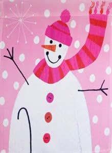 Pink Snowman Winter Garden Flag
