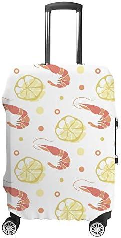 スーツケースカバー レモン エビ 伸縮素材 キャリーバッグ お荷物カバ 保護 傷や汚れから守る ジッパー 水洗える 旅行 出張 S/M/L/XLサイズ
