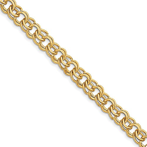 Jewel Tie 14k Yellow Gold Big Heavy Double Link Pendant Charm Bracelet 7