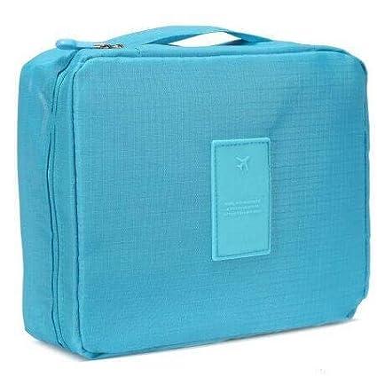 Awestuffs Unisex Nylon Waterproof Toiletry Kits Travel Storage Bag  Blue