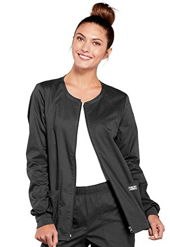CHEROKEE Women's Workwear Core Stretch Warm Up Scrubs Jacket, Pewter, X-Large