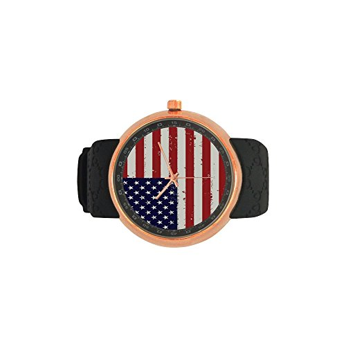 Novelty Gift US American Flag Men's Rose Gold Plated Resin Strap Watch by American Flag Watch (Image #3)
