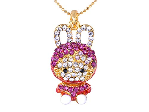 Alilang Hot Pink Bunny Girl Rhinestone Hooded Cat Kitty Face Rabbit Pendant Necklace -