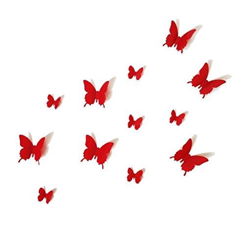 12PCS 3D Red Butterfly Wall Stickers Art Decal PVC Butterflies Home DIY Decor