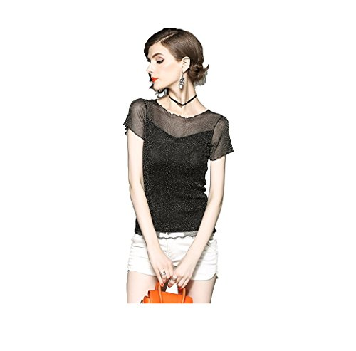 Nero Donna Corta Fuweiencore Maglietta Slim shirt Trasparente Estiva Manica T 4H7wO6q7