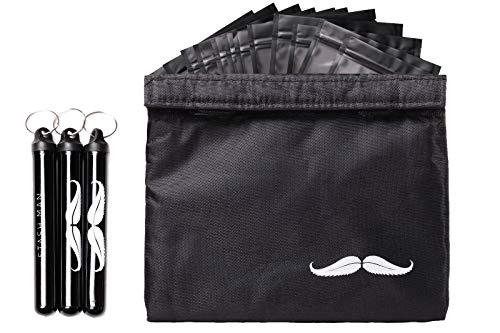 Stash Man Smell Proof Bag Kit - 7x6 Includes 3 Blunt Size Doob Tube Joint Holder Container with Key Rings, Strain Storage Resealable Air Tight Zip Bags for Herb Accessories - Dog Tested