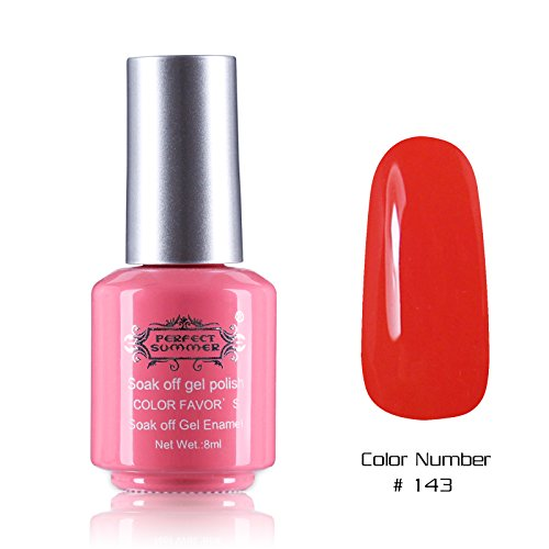 Perfect Summer Quick Drying 8ml Sweet Pink Bottle Colors Long Wearing UV Led Soak Off Gel Polish French Nails Lacquers for Teens Girls #143 bright red