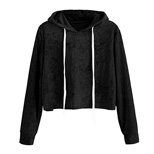 OSTELY Women Solid Hooded Long Sleeve Sweatshirt Jumper Pullover Tops Velvet Blouse(Black,Medium) -