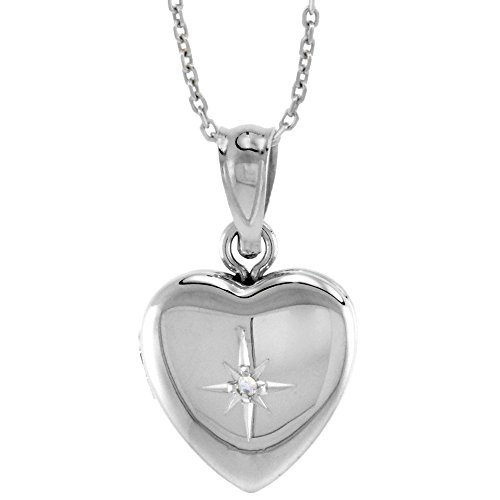Very Tiny 1/2 inch Sterling Silver Diamond Heart Locket Necklace for Girls, 16 inch ()