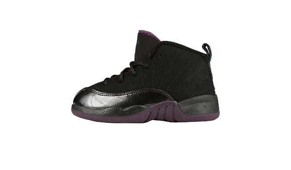 purchase cheap 9623c 5fa3b Amazon.com   Jordan XII (12) Retro (Toddler) - Black   Grape  Purple-Aquamarine, 7 M US   Shoes