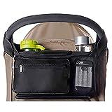 PUBAMALL Bolsa organizadora de cochecito de bebé, para todos los cochecitos múltiples, con bolsillos, cremallera y bolsillo para teléfono (Negro)