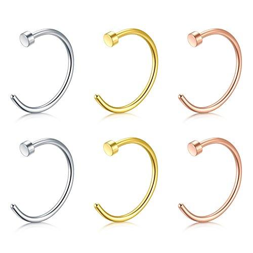vcmart Fake Nose Rings Hoop-16G 10mm Nose Hoop Ring Nose Ring Piercing Lip Septum Ring Earrring Faux Body Piercing Jewelry 6pcs