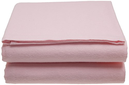 Junior Joy Cot Flannelette Sheets, Pink, 100 cm x 150 cm Flannelette Crib