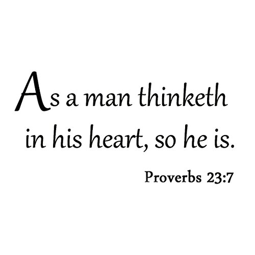 VWAQ As a Man Thinketh in His Heart So He Is Proverbs 23:7 Wall Decal Quote Bible Religious Scripture Christian Wall Art Sticker