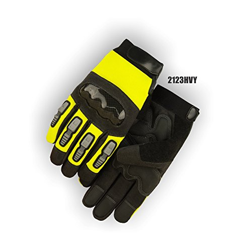 (12 Pair) Majestic ARMORSKIN & PVC PALM GLOVES WITH THERMOPLASTIC POLYURETHANE KNUCKLE GUARD & FINGER GUARDS - 3X LARGE, YELLOW(2123HVY/13)
