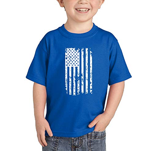 - HAASE UNLIMITED White American Flag - Torn USA Infant/Toddler Cotton Jersey T-Shirt (Royal Blue, 2T)