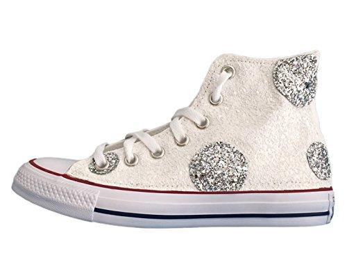 Converse Bianco argento pois All Star bianchi glitter applicazione con e rzrPqO