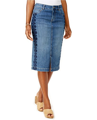 Style & Co. Women's Side Embroidered Denim Skirt (10, Spice) (. Style Skirt & Co Spandex)