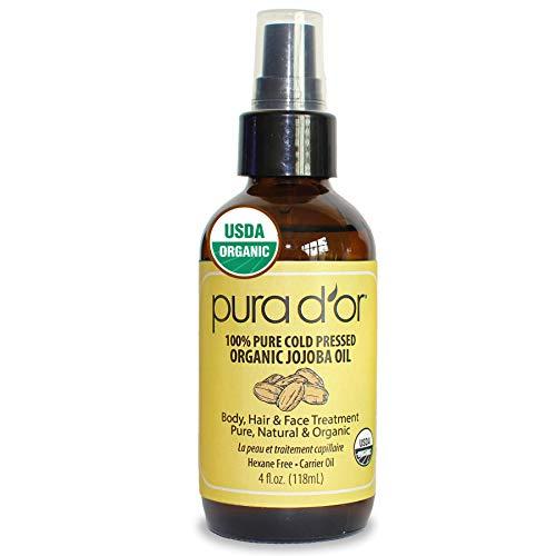 PURA D'OR Organic Golden Jojoba Oil (4oz / 118mL) USDA Certified Premium Grade 100% Pure Natural Moisturizer: Cold Pressed, Unrefined, Hexane-Free Base Carrier Oil for DIY Skin Care, Hair, Face  Nail