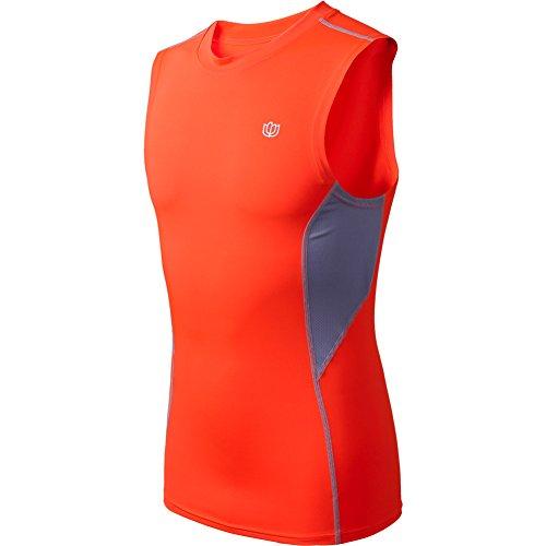 CIOR Men's Slim Fit Elastic Compression Sleeveless Shirt Quick-Dry Tank,CWX03,Orange,XL (Cold Gear Tank compare prices)