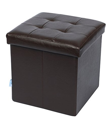Fsobellaleo Faux Leather Folding Storage Ottoman for Baby Bookcase Easy to Move Brown 12.6