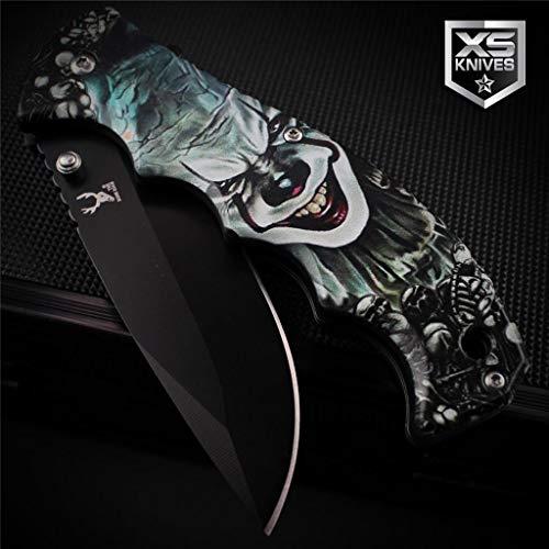Billion_Store Clown & Skulls Spring Assisted Pocket Knife Black 3D Art Graphics