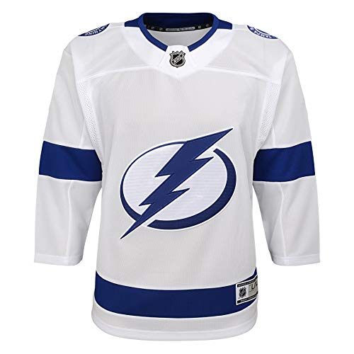 (Outerstuff Tampa Bay Lightning NHL Youth Premier Blank White Home Jersey (Youth L/XL))