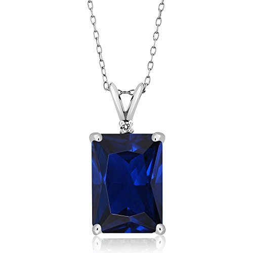 10.02 Ct Emerald Cut Blue Simulated Sapphire & White Diamond 925 Sterling Silver Pendant With 18 Inch Silver Chain