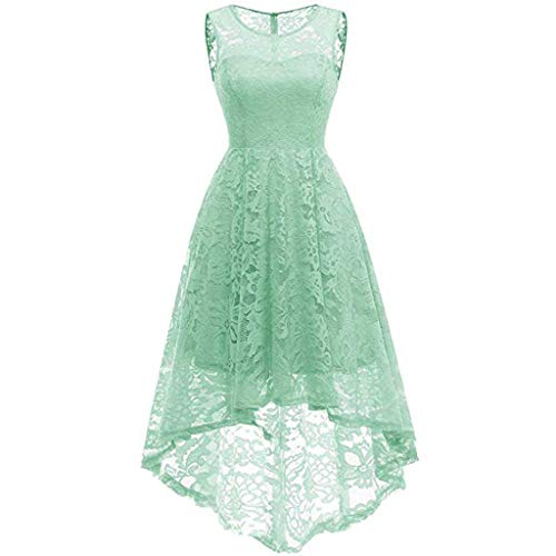 Rakkiss Women Vintage Skirt Lace Solid Swing Slim Hepburn Skirt A-Line Elegant Exquisite Evening Dress Green
