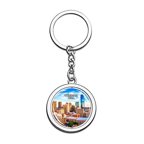 USA United States Keychain Oklahoma Key Chain 3D Crystal Spinning Round Stainless Steel Keychains Travel City Souvenirs Key Chain Ring