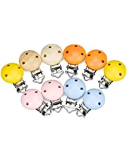 Demason 10 stuks houten fopspeen clip, fopspeen clip voor baby's, jongens meisjes, hout en metaal, ronde ontwerp fopspeen clip met 3 gaten, veilige en koele clip, wit, roze, geel, blauw