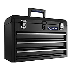 Heavy-duty 20.6-in 3-Drawer Black Steel Lockable Tool Box Model # HS3DMHB-13