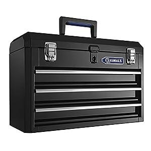 Heavy-duty 20.6-in 3-Drawer Black Steel Lockable Tool Box Model # HS3DMHB-13