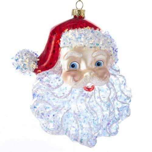 Kurt Adler Glass Santa Head Ornament