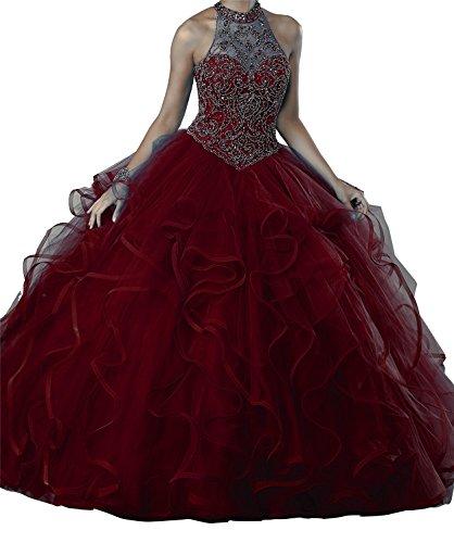 Quinceanera New Gown (MFandy New Women High Neck Ball Gowns Girls Beads Quinceanera Dresses 6 US Burgundy)
