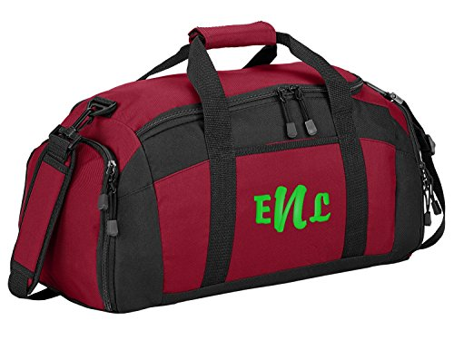 All about me company Sport Duffel Bag Personalized Monogram Name Gym Bag Red