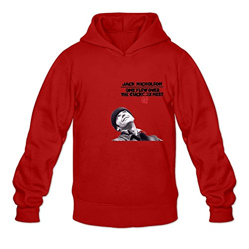 GYKU Men's One Flew Over The Cuckoo Long Sleeve Hooded Sweatshirt Size S Red,100% Organic Cotton