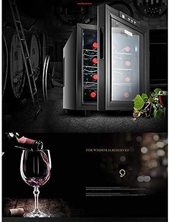 JIAJBG 12 botellas de enfriador/enfriador de vino eléctrico - Temperatura constante y humedad Bodega de vinos - Gabinete de enfriamiento de cigarros, pequeño refrigerador independ