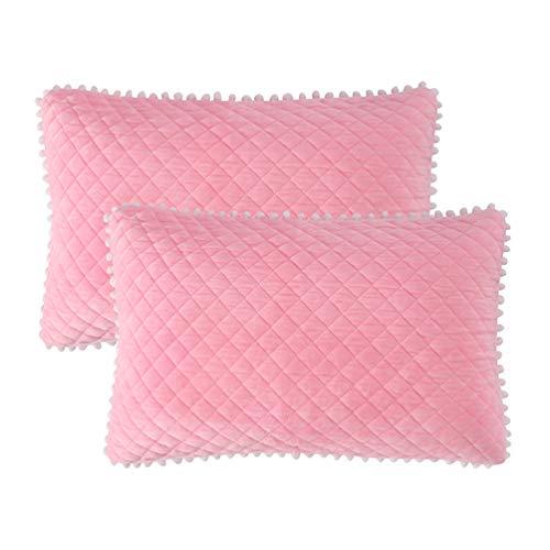 LIFEREVO 2 Pack Diamond Quilted Crystal Velvet Mink Pillowcases Pompoms Fringe Zipper Closure (Standard/Queen ()