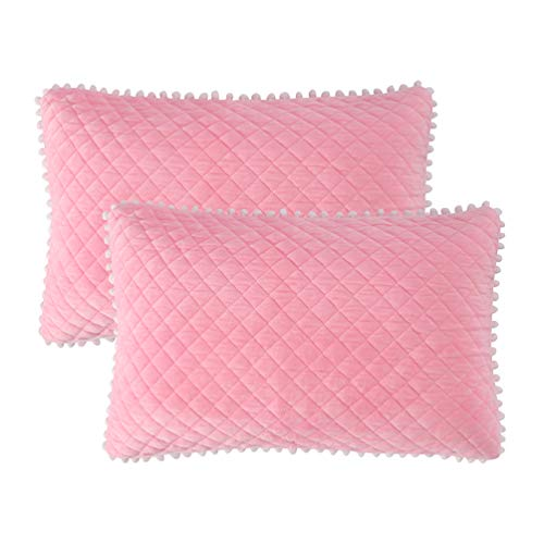 - LIFEREVO 2 Pack Diamond Quilted Crystal Velvet Mink Pillowcases Pompoms Fringe Zipper Closure (Standard/Queen Pink)