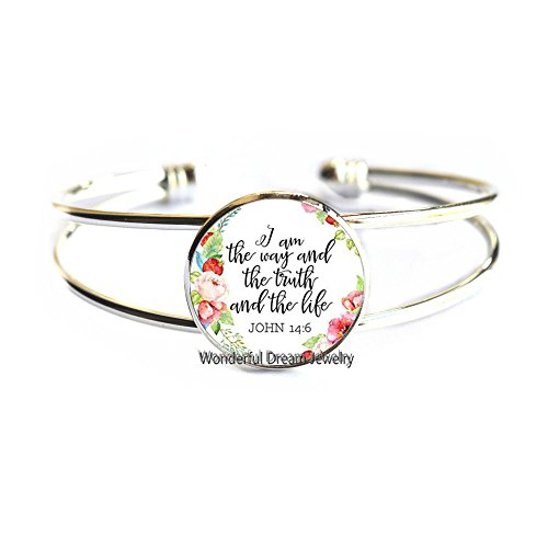 Jesus Jewellry I am the way the truth and the life John 14:6 Christian Quote Bangle Bible Verse Bracelet Bangle Gifts,PU376 (Silver)